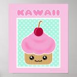 Poster de la cereza de la magdalena de Kawaii