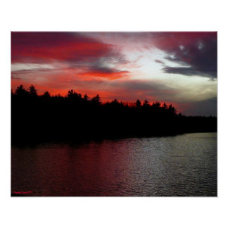 Poster de la charca de Walden - nubes de color roj