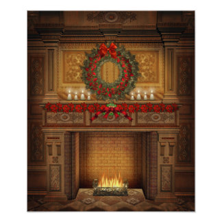 Poster de la chimenea del navidad