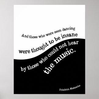 Poster de la cita de Friedrich Nietzsche blanco y