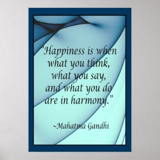 Poster de la cita de Gandhi de la armonía de la fe