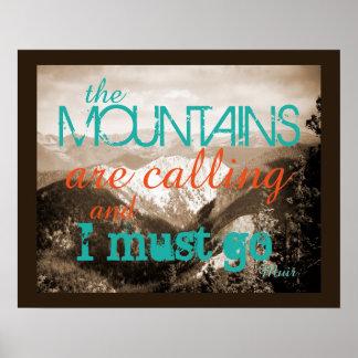 Poster de la cita de John Muir que las montañas