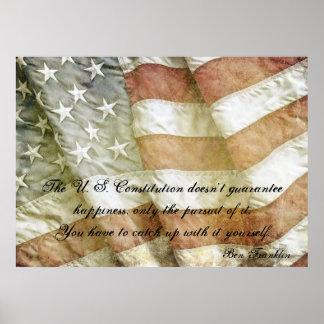 Poster de la cita de la felicidad de Ben Franklin