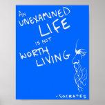 "Poster de la cita de la ""vida no examinada"" de Sóc"