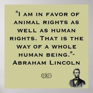 Poster de la cita de los derechos de los animales