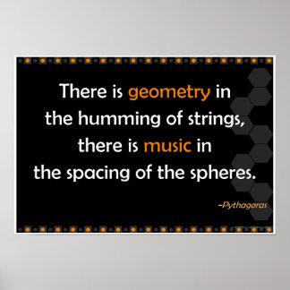 Poster de la cita de Pitágoras de la geometría