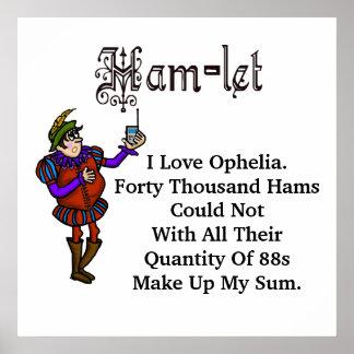 Poster de la cita del amor de Hamlet Ofelia del