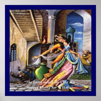 Poster de la cita del amor de la tierra de Hafiz q