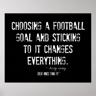 Poster de la cita del fútbol en blanco y negro