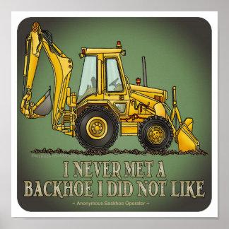 Poster de la cita del operador de la retroexcavado