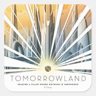 Poster de la ciudad de Tomorrowland Pegatina Cuadrada