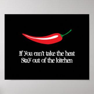 Poster de la cocina de la pimienta de chile rojo póster