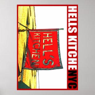 Poster de la cocina NYC de los infiernos del estud