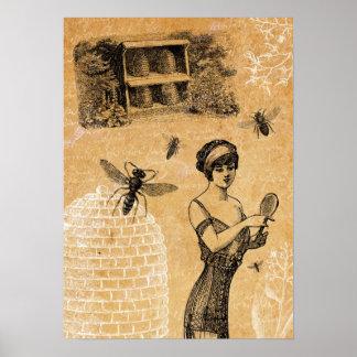 Poster de la colmena del vintage