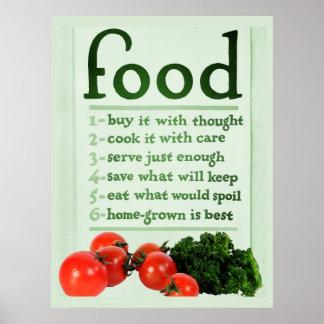 Poster de la comida del vintage