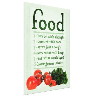 Poster de la comida del vintage impresiones en lienzo estiradas