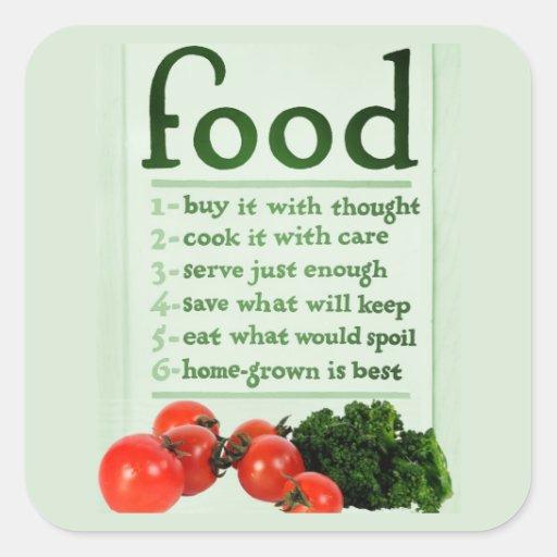 Poster de la comida del vintage pegatina cuadrada