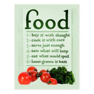 Poster de la comida del vintage postal