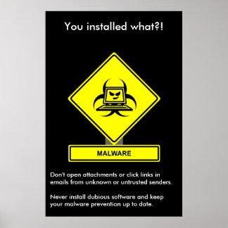 Poster de la conciencia de la seguridad de Malware Póster