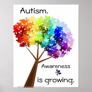 Poster de la conciencia del autismo del árbol del