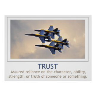 Poster de la confianza con ángeles de azules marin
