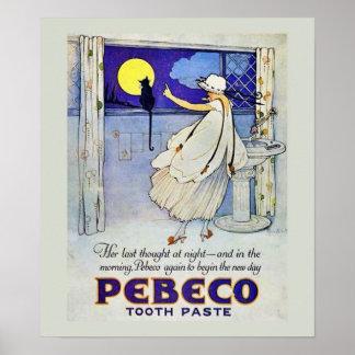 Poster de la crema dental del vintage póster