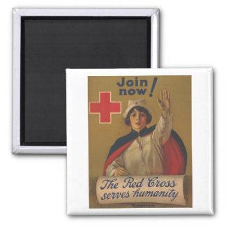 ¡Poster de la Cruz Roja - ahora únase a! Imán Cuadrado