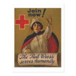 ¡Poster de la Cruz Roja - ahora únase a! Postal