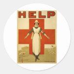 Poster de la Cruz Roja del vintage WW1 Etiqueta Redonda