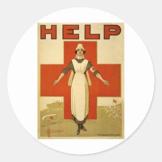 Poster de la Cruz Roja del vintage WW1 Pegatina Redonda