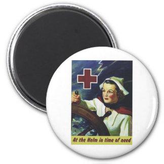 Poster de la Cruz Roja - enfermera en el timón Imán Redondo 5 Cm