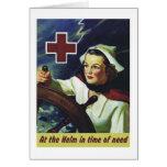 Poster de la Cruz Roja - enfermera en el timón Felicitaciones