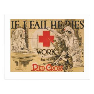 Poster de la Cruz Roja - si lo fallo muero Postal