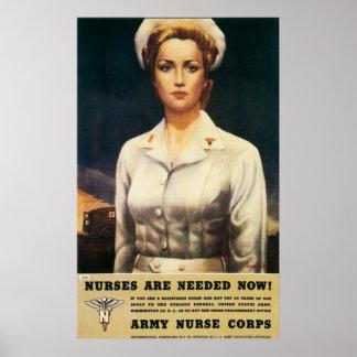 Poster de la enfermera del vintage WW II