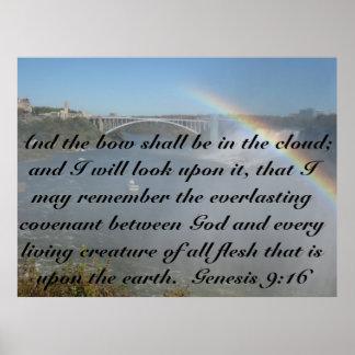 Poster de la escritura de la biblia del arco iris
