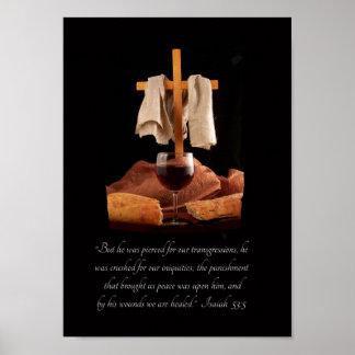 Poster de la escritura del 53:5 de Isaías de la cr Póster