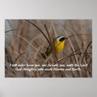 Poster de la escritura del pájaro del Yellowthroat Póster