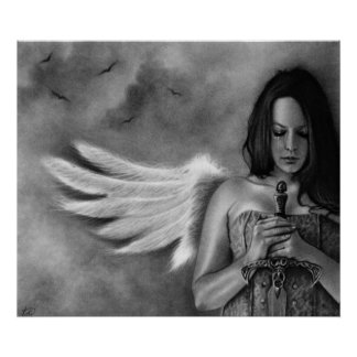 Poster de la espada del chica del ángel del defens