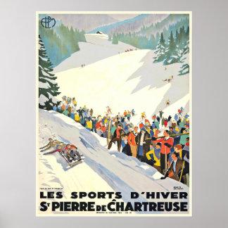 Poster de la estación de esquí del vintage de Suiz