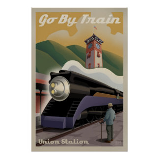 Poster de la estación de tren de la unión del vint