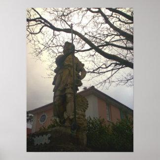 Poster de la estatua y del árbol de Portmeirion