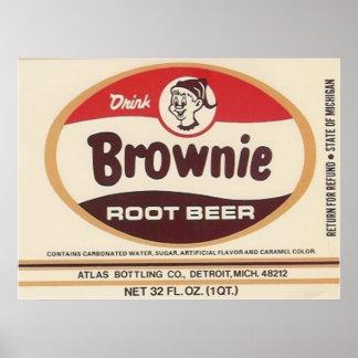 poster de la etiqueta de la cerveza de raíz del br