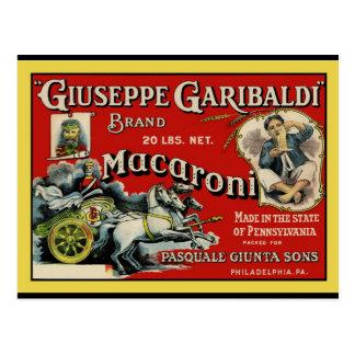 Poster de la etiqueta de los macarrones del arte d tarjetas postales