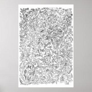 Poster de la evolución - árbol de la vida - blanco