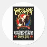 Poster de la expo del arte gráfico 1921 pegatinas redondas