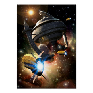 Poster de la fantasía de la estación espacial póster