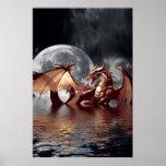 Poster de la fantasía del dragón y de la luna