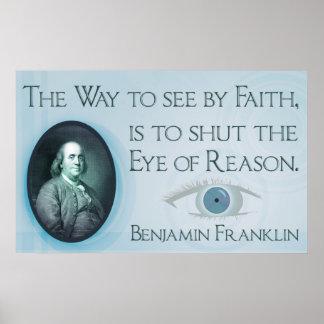 Poster de la fe y de la razón de Benjamin Franklin
