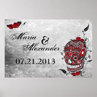 Poster de la fecha del boda del cráneo del azúcar