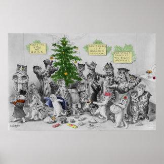 Poster de la fiesta de Navidad de los gatos de Lou
